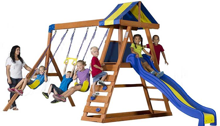 Backyard Discovery Dayton Wooden Swing set For Kids. Also inclues a sand pit under that little house which is pretty cool.