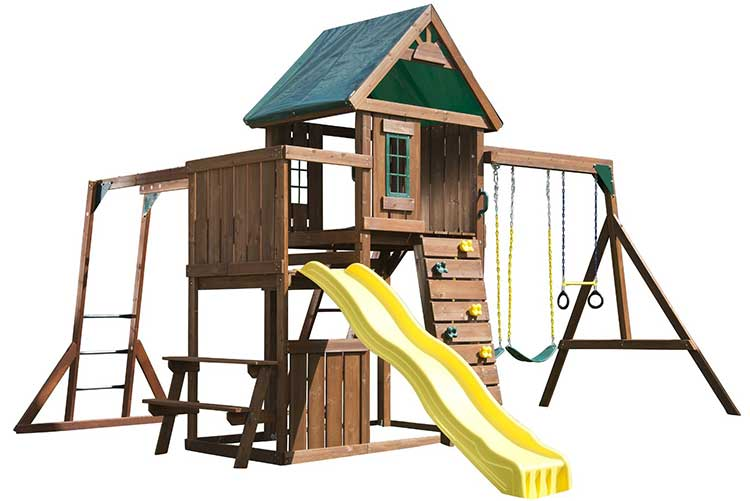 Chesapeake Wooden Swing Set - Complete Set. With a climber.