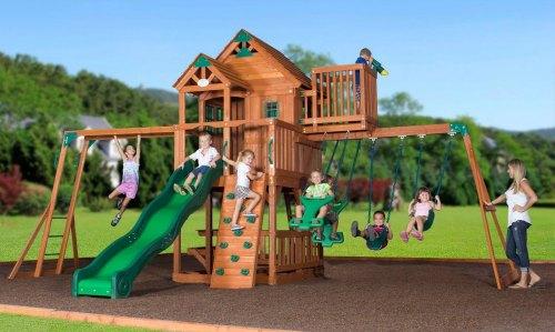 Leisure Time Skyfort Ii Cedar Swing Set Playset With Slide