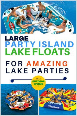 Giant multi-person inflatable rafts for the lake for amazing lake parties. Includes 3 big party island inflatables, the Sportsstuff Fiesta, Everton's floating Island and the Wow Tube a Rama