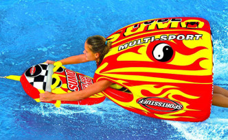 Just like a sumo wrestler -- but on water and is more fun! a great towable tube!