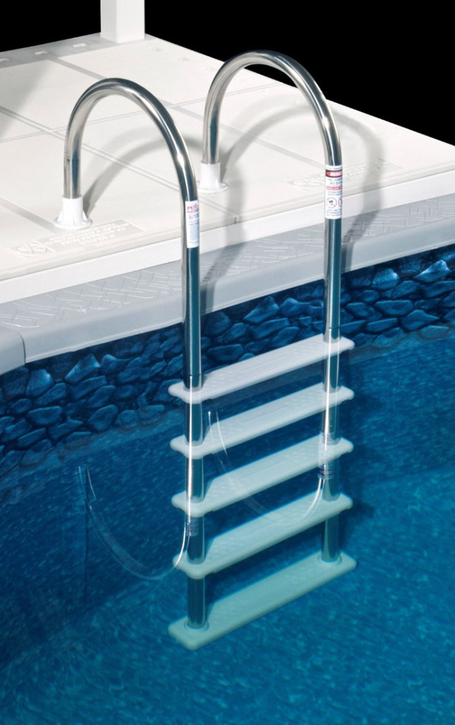 Durable in pool ladder: Polymer non-skid steps, Base of the ladder pivots to conform to sloping bottoms for super safe contact
