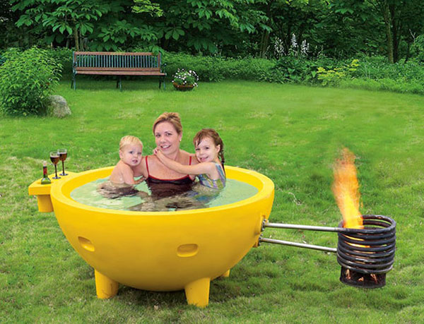 A unique wood burning hot tub that's great for the outdoors.