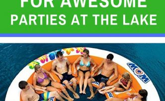 The best floating island rafts for awesome parties at the lake. With image of the white and orange raft by wow which seats 12 adults.