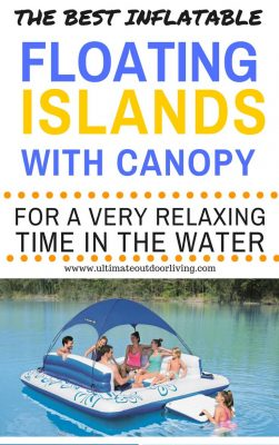 The Best inflatable floating islands with canopy for a very relaxing time in the water from www.ultimateoutdoorliving.com. Includes image of of the Tropical Z blue lake float for 6 people
