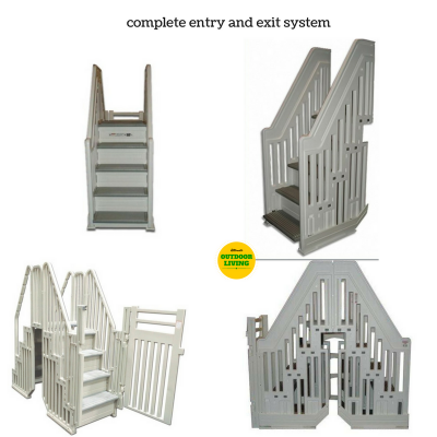 Durable pool ladder and steps with 400 lbs. capacity by Confer Plastics. Can be used if you have a deck or not.