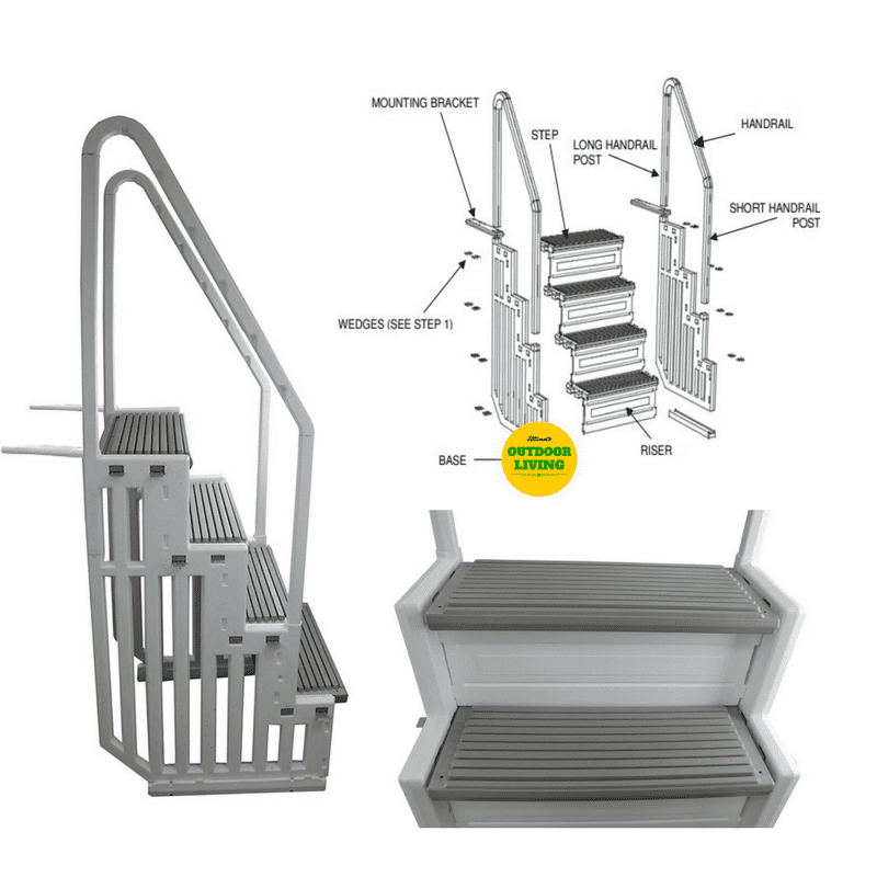 Cheap, durable and safe heavy duty pool steps for flat-bottomed pools