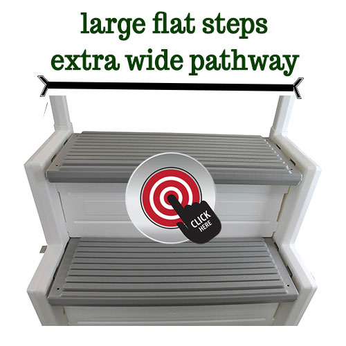 Extra wide pathway for flat bottomed pools