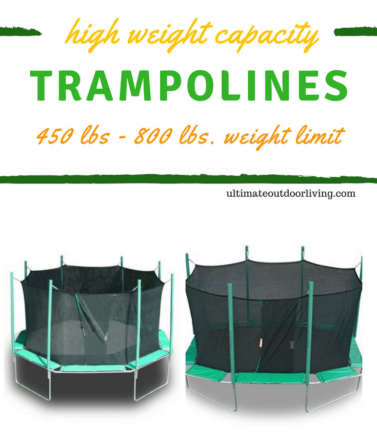 450 lbs weight limit to 800 lbs. capacity. Durable trampolines for your backyard.