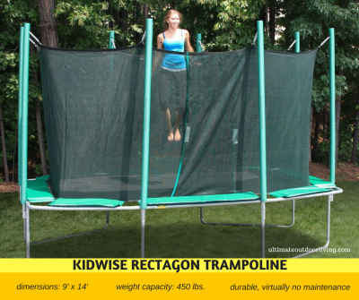 Durable high weight capacity trampoline. Up to 450 lbs. virtually not maintenance needed.