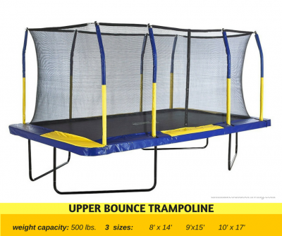 High Weight Capacity trampoline at 500 lb weight capacity. Also available in different colors and sizes.