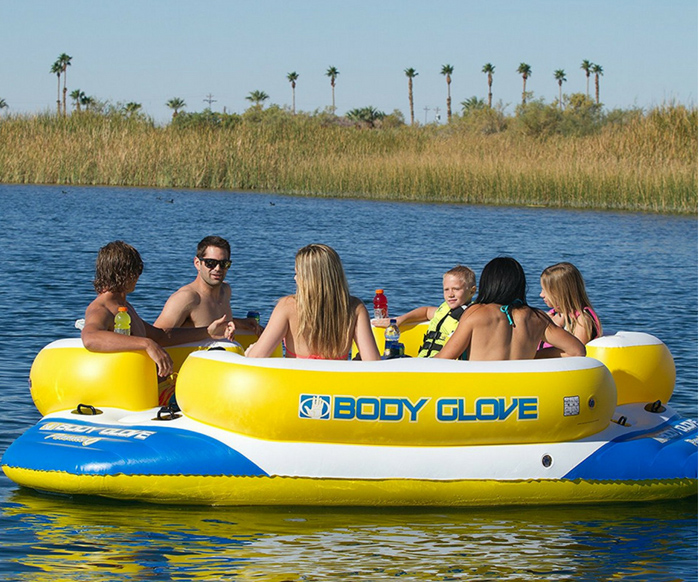 6 person lake float white and yellow color. A fun way to have fun in the summer with friends.