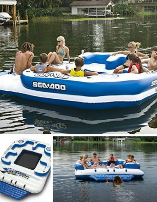 A lake float with waterproof MP3 player. Fits 8 adults and kids. In blue and white