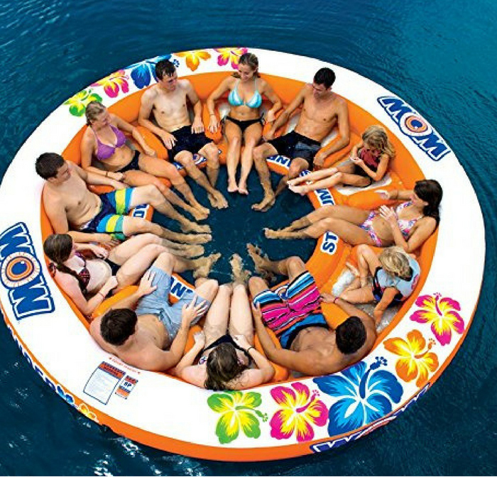 Giant inflatable float from Wow Islander Water sports. Get ready for a fun day at the lake.