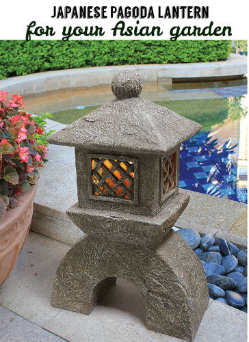 Decorate your Asian garden with this Japanese pagoda lantern. Lighted and in front of a water feature (pond)