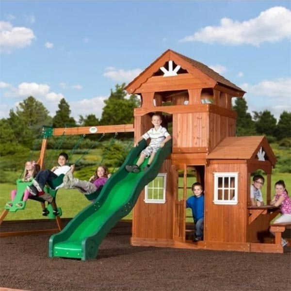 Big Backyard Playset which includes a clubhouse with the play kitchen that has a pretend sink, cordless phone and stove.