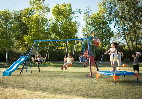 8 Different activities in one - Great way to get your kids healthy and exercised. This activity set includes a slide, a trampoline, a basketball hoop with a ball, 3 different types of swings (belt swing, flying saucer, glider), a trapeze bar, and a soccer ball with net.