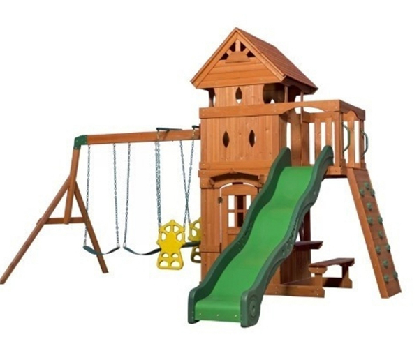 A simple wooden swing set for kids.  Made of cedar, it has a 10-foot slide and a glider swing there's also a picnic table under the tower.