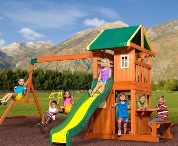 A cute swing set for less than $600. Lots of different activities for kids such as a wavy swing, picnic table  and a trapeze swing.