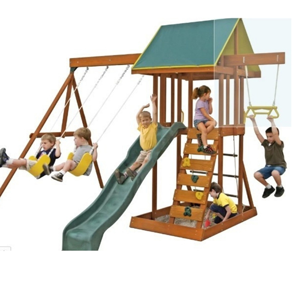 A multi activity playset that is sure to entertain a lot of kids at the same time. Love that it has a sandpit under the tower -- great use of space. And check out the climbing frame and trapeze bars, too