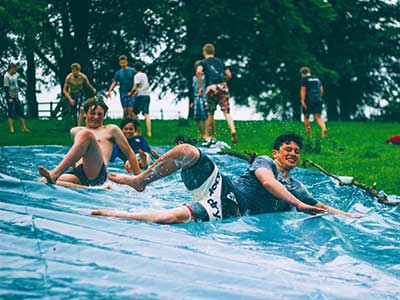 A waterslide that everyone can join in and have lots of fun this summer.