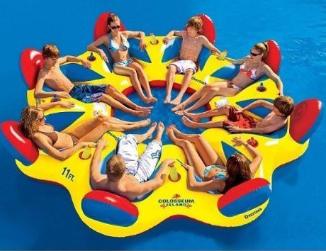 Giant party lake rafts for friends and family. A great way to enjoy the summer.