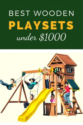 Best wooden playsets under $1000 dollars. Swing sets made of cedar with lots of different activities. Love the club house and the picnic tables underneath it.  Great if you have a lot of kids to entertain!