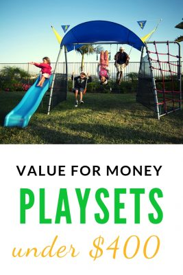 Swing Sets under $400. On a budget? There are some good ideas here. These are made of steel - they're durable too! And check out all the many activities these playsets offer from trampoline to a saucer swing.