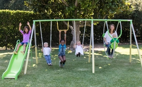 A backyard playpark for kids - A great way to get them off their tablets and computers and out in the backyard for some fresh air!