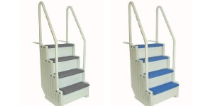 Confer steps for flat bottomed pools only. Available in 4 different styles.