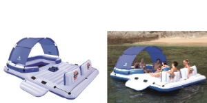Bestway floating island raft - the only one with a canopy. If there are only 6 people in the party, this is a handy one to have especially during hot days.